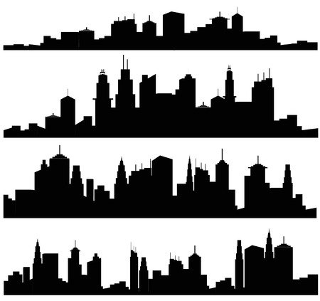 Set of vector cities silhouette Çizim