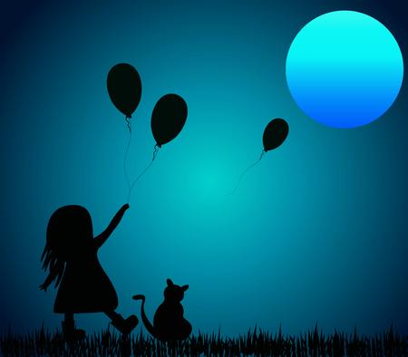 horizontal: Vector horizontal illustration of girl with balloon