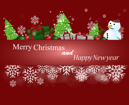 gift ribbon: Merry Christmas and Happy New Year Card