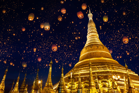 tourism: Shwedagon pagoda with larntern in the sky, Yangon Myanmar Stock Photo