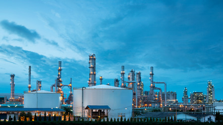 Petrochemical plant (oil refinery) industry with blue sky