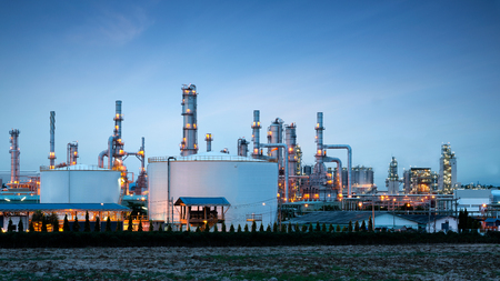 petrolium: Petrochemical plant (oil refinery) industry with blue sky