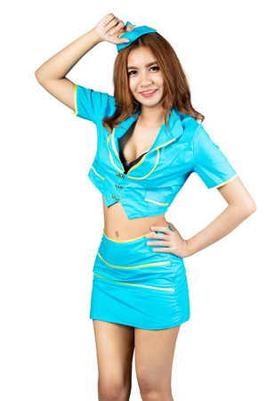 airline hostess: Portrait of beautiful air hostess standing, Isolated over white
