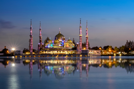islamic scenery: Crystal mosque in Kuala Terengganu, Malaysia