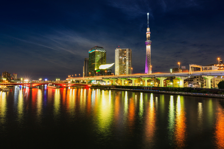 sumida: November 19, 2015 - Tokyo landmark buildings including tokyo skytree along the sumida river
