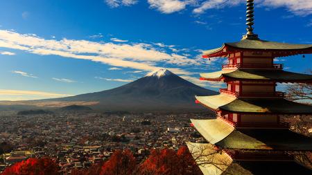 chureito: Chureito Pagoda with maple & Beautiful Mt.fuji View Stock Photo