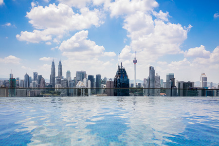 Swimming pool on roof top with beautiful city view kuala lumpur malaysia Banco de Imagens