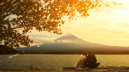 koyo: Mt. Fuji with autumn foliage at Lake Kawaguchi in Japan