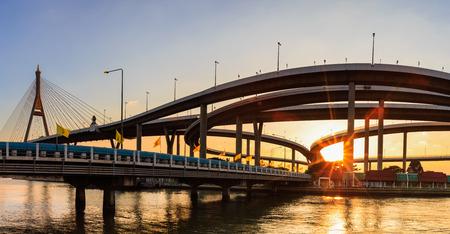 bhumibol: Landscape sunset of Bhumibol Bridge