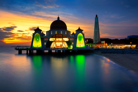 straits: Sunset view from malacca straits mosque Stock Photo