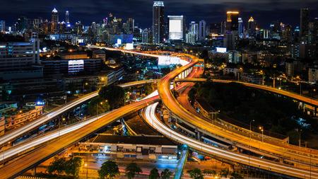 nightfall: Bangkok  interchange overpass and elevated road in nightfall Bangkok city