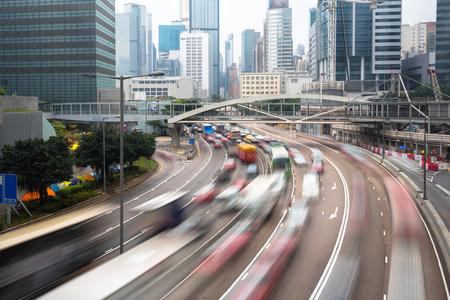 Cars In motion blur on road Hong Kong China, Hong Kong urban Transportation concept