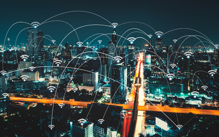 network connection: Wifi icon and city scape and network connection concept, Smart city and wireless communication network, abstract image visual, internet of things Stock Photo