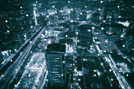 Smart city scape and network connection concept, wireless signal of internet in business city. internet connection.social on line business Stock Photo - 62105893