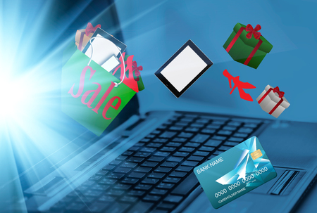 card making: Online shopping.  with laptop and credit card, making online payment, close up  online shopping with digital laptop and credit card Stock Photo