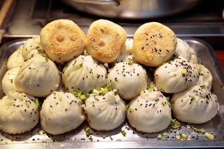 Shanghai - Dumpling, hot eating, morning food, pan fried pork bun,Shui jian bao dumplings, chinese food