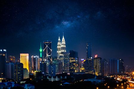Kuala lumpur nightscape with milky way, Malaysia