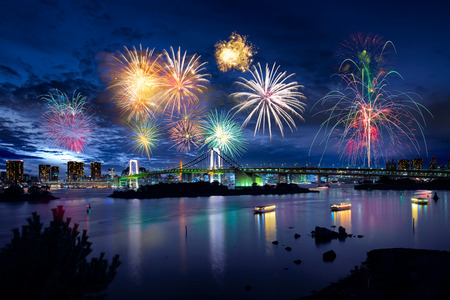 Tokyo bay city view and tokyo rainbow bridge with beautiful fireworks Stock Photo