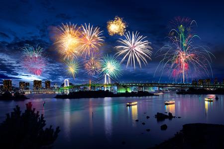 hanabi: Tokyo bay city view and tokyo rainbow bridge with beautiful fireworks Stock Photo