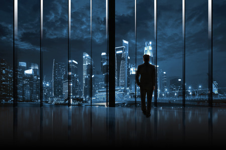 night vision: Businessman Cityscape Skyline Night Light Vision Concept