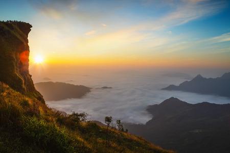 Sea of mist with sunrise,  Phu chi fa in Chiang rai, Thailand