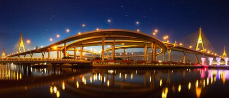 Bhumibol Bridge Panorama at night