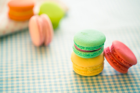 macaron colorful on wooden
