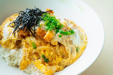 Katsu don boiled japan food is deep fired pork