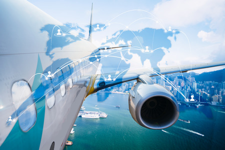 Airplane transportation around the world, global network with technology