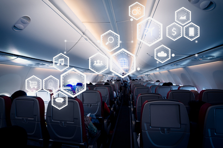 Business technology concept on airplane blackground