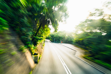 Mountain road and high speed motion blur