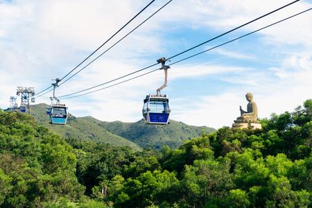 Tian Tan Buddha statue at Ngong Ping, Lantau Island, in Hong Kong China and traveled by cable car.