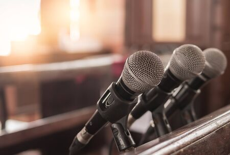 Three microphones were inside the church for the sermon of a Christian pastor.