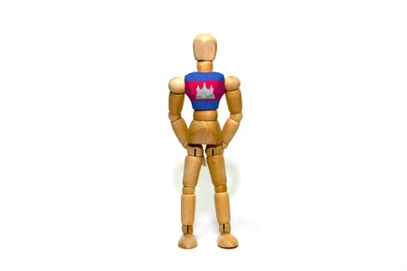 marioneta de madera: Wooden puppet with Cambodia flag on body