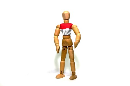 marioneta de madera: Wooden puppet with Indonesia flag on body