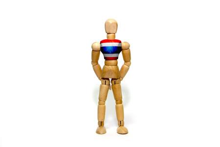 marioneta de madera: marioneta de madera con la bandera de Tailandia en el cuerpo