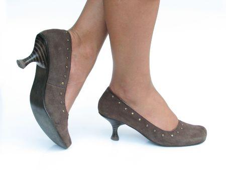 dangle: isolated brown high heels