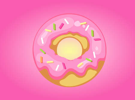 Vector donut with frosting and sweets on a pink background