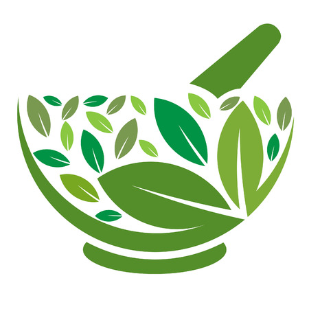 Herbal Mortar and pestle logo Фото со стока - 43611107