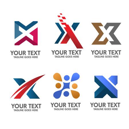 accountig: letter x logo set