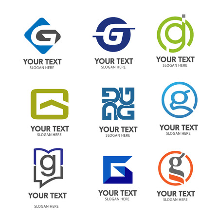 typo: letter g logo set vector Illustration