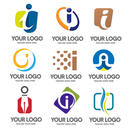 letter i logo set vector