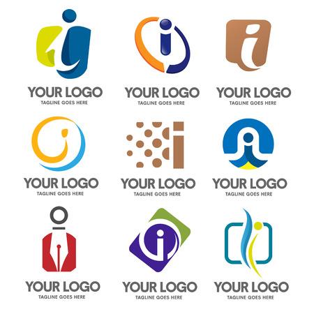 letter i logo set vector