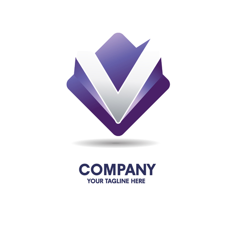 elegant  letter v with 3d style logo 向量圖像