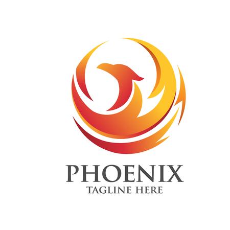 phoenix logo cirkel concept Stock Illustratie