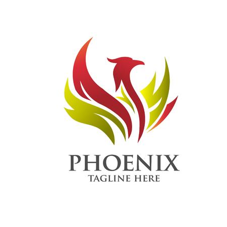 flame logo: elegant phoenix logo concept
