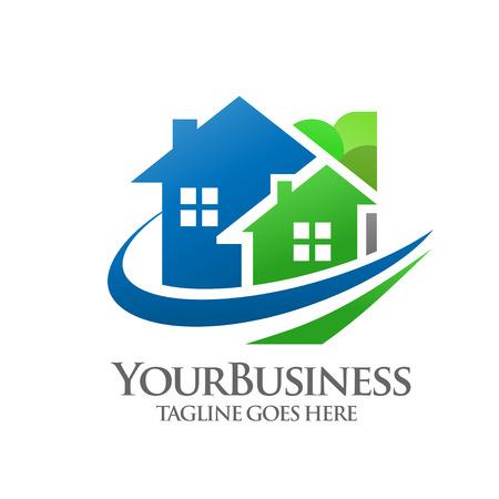 construction firm: green villas  logo concept