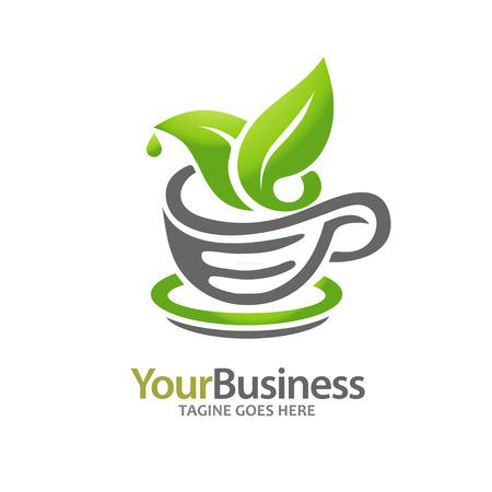 Feuille verte avec tasse de thé, parfait pour une boisson chaude et Thés et Infusions Banque d'images - 53076022