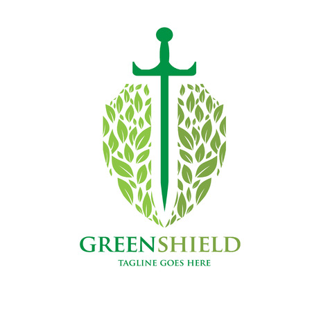 green shield illustration concept of sword and green leaf as shield