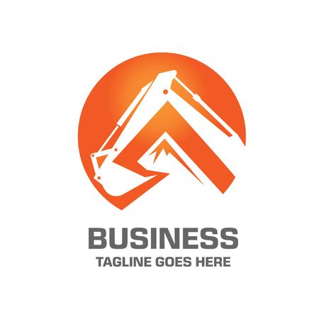 transporte terrestre: Excavadora Diseño Logo Vector
